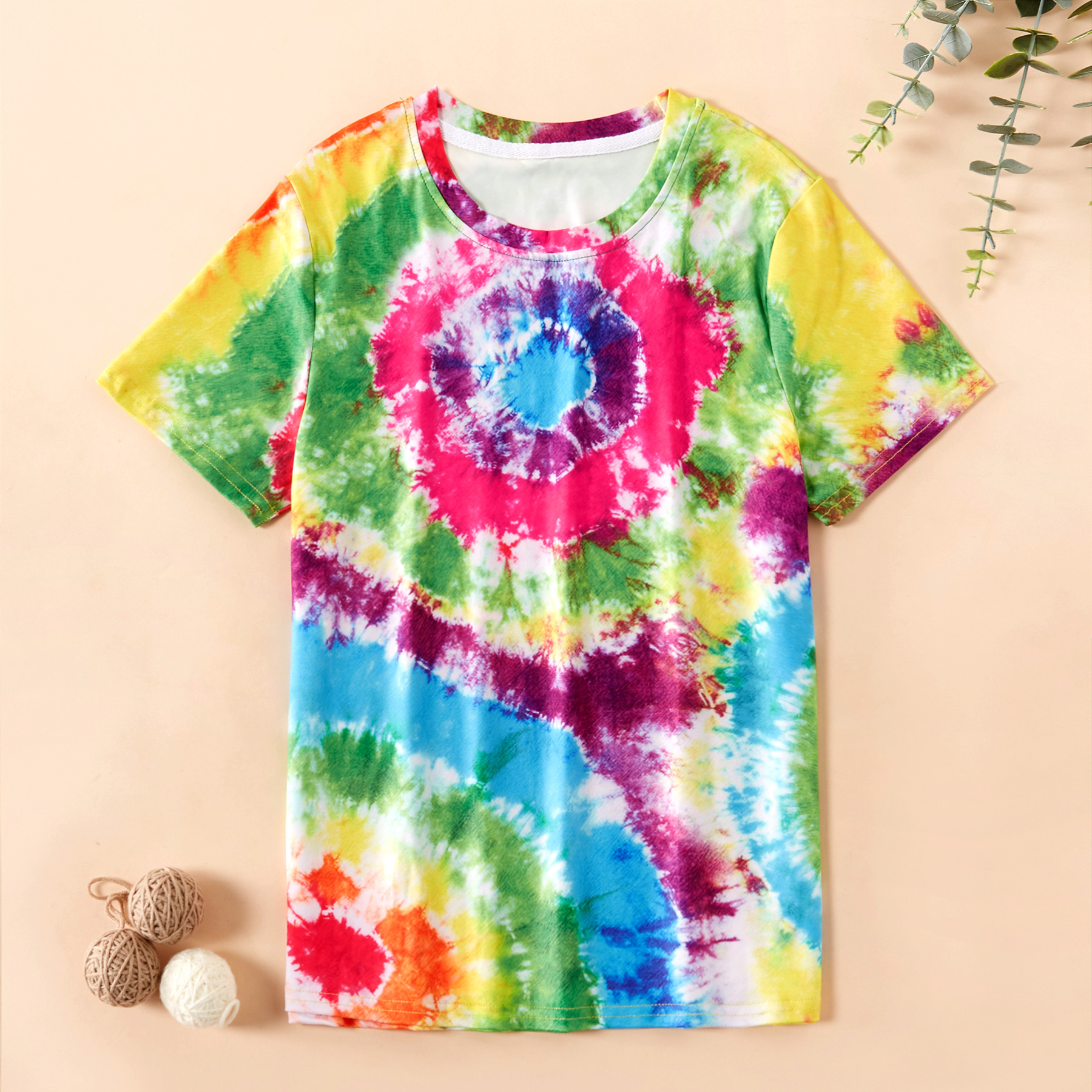 Trendy Colorful Tie-dyed Short-sleeve Tee