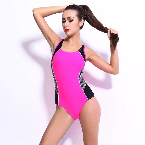 Sexy Women One-piece Swimsuit Contrast Color Block Sporty Monokini Swimwear Bathing Suit Dark Blue/Black/Pink