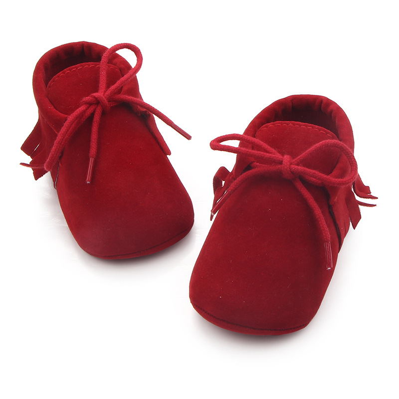 Baby / Toddler Fashionable Solid Lace-up Fringed Prewalker Leather Shoes