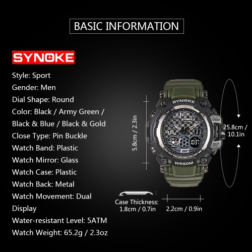 SYNOKE Digital Sport Watch 5ATM Water-resistant Men Watches Backlight Dual Display Wristwatch Male