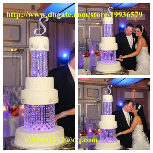 "2Tier Crystal Chandelier Cake Stand Round - 8"" & 10"" adorned with sparkling acrylic crystals and tear drop pendants"