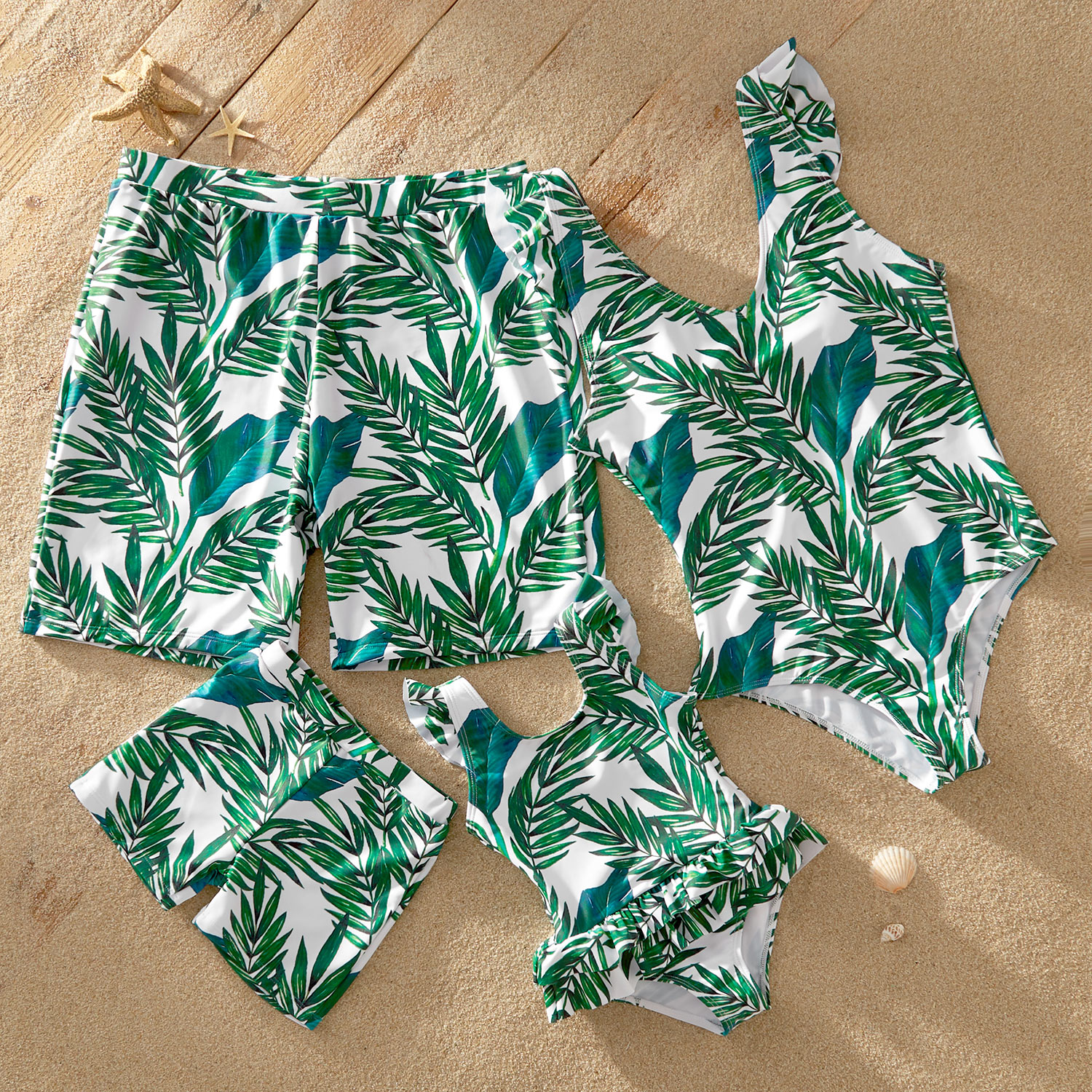 Mosaic Family Matching Coconut Leaf Flutter-sleeve Backless Swimsuits
