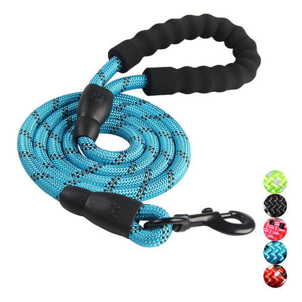 nylon round rope pet supplies & pet reflective traction rope dog chain for medium and large dogs soft padded handle multi color hot