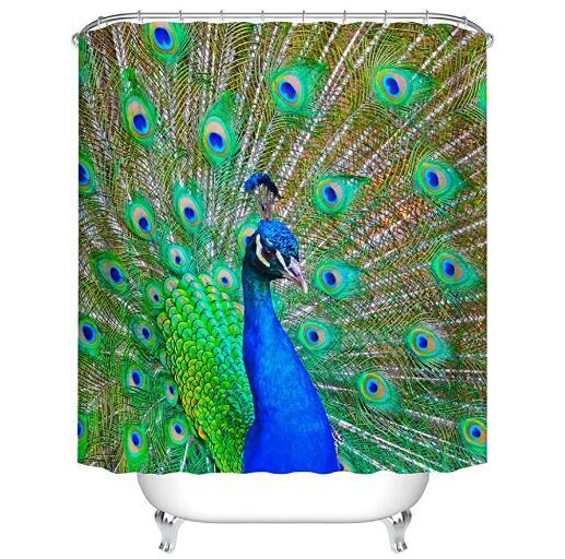 Feather Shower Curtains Waterproof Bathroom Decor with Hooks 3D Girls Boys Gifts