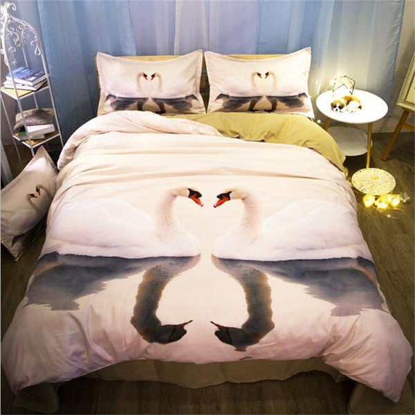 romantic 3d swan bedding set twin queen king size duvet cover set bed sheets pillowcase home textiles gift for her