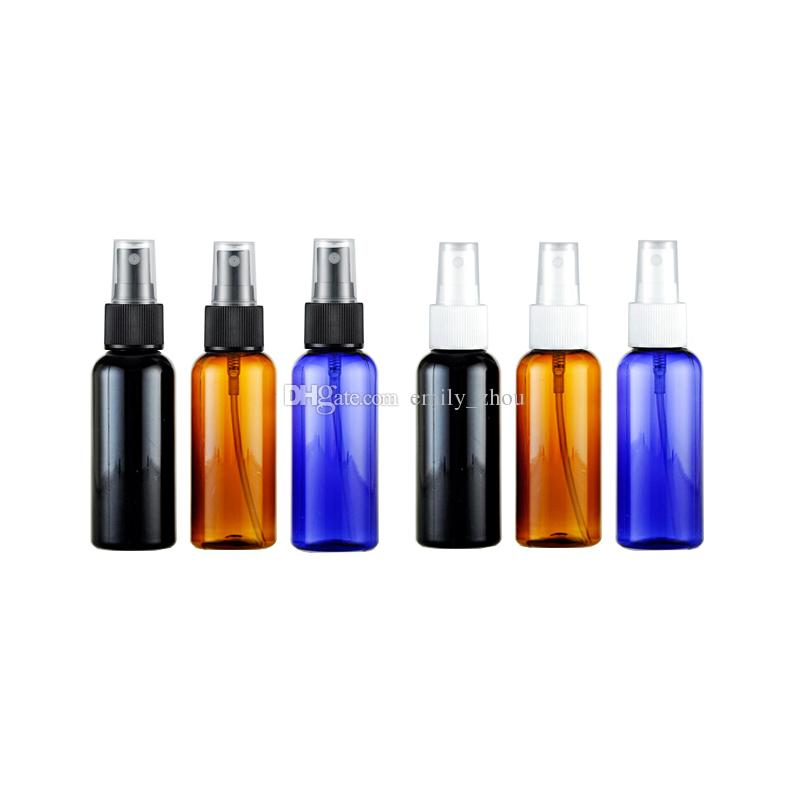 100pcs 50ml mist sprayer pump plastic container 50cc fine mist spray perfume bottle brown blue black round empty cosmetic bottles
