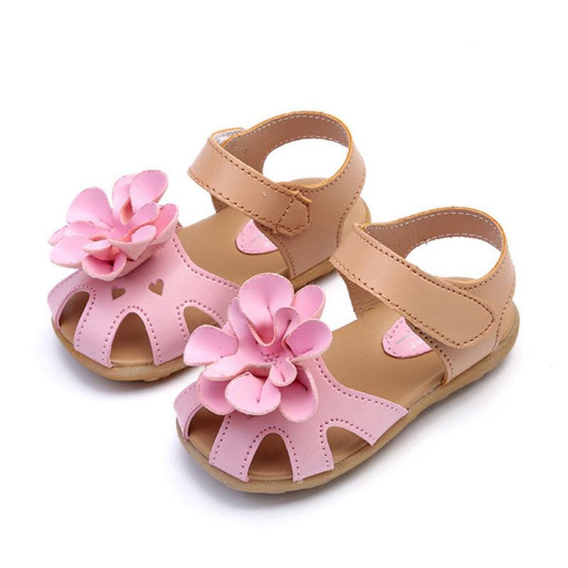 Toddler Girl Floral Decor Solid Velcro Sandals