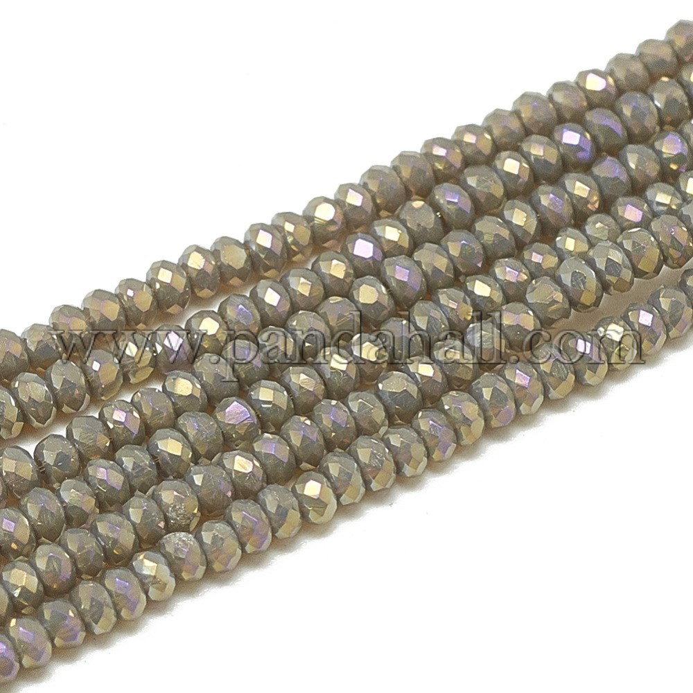 Electroplate Opaque Solid Color Glass Beads Strands, Faceted, Rondelle, Coffee, 2.5x1.5mm, Hole: 0.8mm; about 200pcs/strand, 12.2