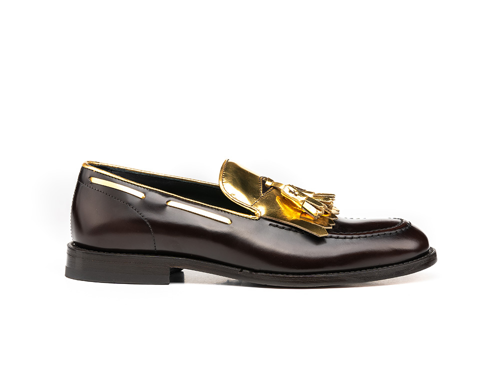 Iris - Coffee polished gold shiny leather woman tassel loafer