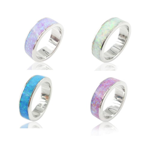 Classic Fashion 5.5mm Stackable 925 Sterling Silver Simulated Opal Band Ring Women Bridal Wedding Engagement Love Jewelry