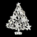 Silver Rhinestone Christmas Tree Broach Brooch Pin for Christmas Holiday