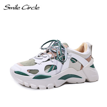 Smile Circle Fashion Chunky sneakers Women shoes Flat Platform Sneaker Lace-up casual Shoes Thick bottom 6cm Ladies Sneaker
