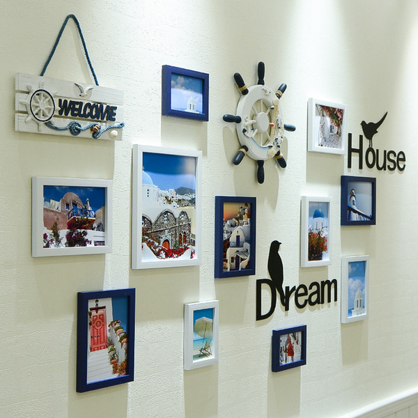 11pcs white blue p frames with wall decorations mediterranean style picture frames wooden for family ps moldura