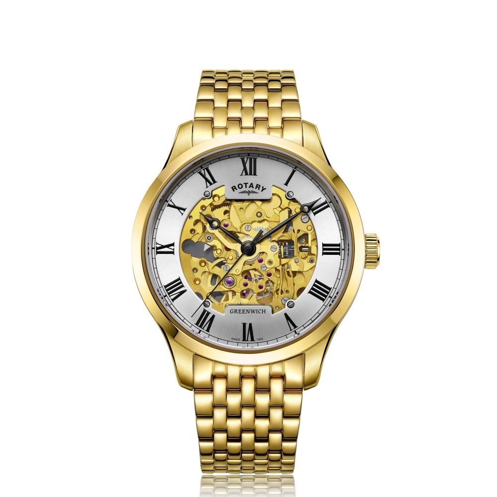Rotary GB02941-03 Greenwich Gold Tone Automatic Wristwatch