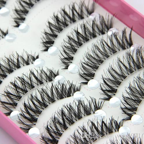 Fashion 10 Pairs Natural Black Long Cross Thick False Eyelashes Party Eye Makeup Cosmetic Tools for lady women Big Sale