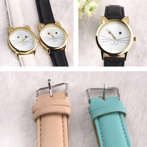 New Fashion Women All-match Accessory Neutral Diamond Lovely Cats Face Faux Leather band Quartz Watch