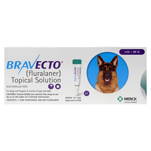 Bravecto Topical For Large Dogs (44 - 88 Lbs) Blue 3 Doses