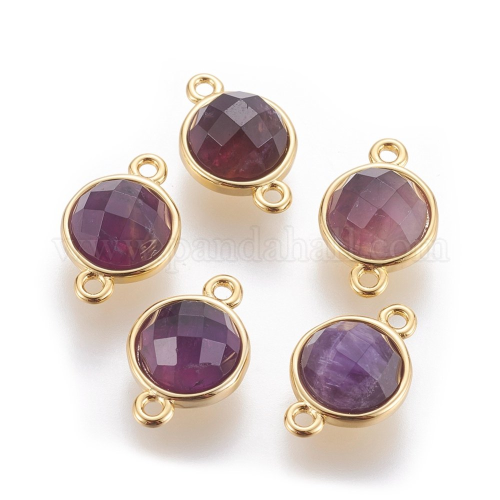 Natural Amethyst Links/Connectors, with Brass Findings, Faceted, Flat Round, Golden, 15.5x10x6mm, Hole: 1.4mm
