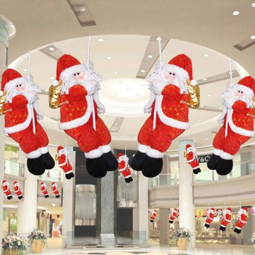 1Pcs Christmas Rope Climbing Santa Claus Ceiling Pendant Ornaments Hangable Hotel Home Decor Drop Ornaments Xmas Gifts Decals
