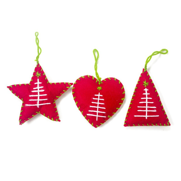 Christmas Cloth Star Heart Pendant Christmas Decor For Home Tree Ornaments Xmas Gifts