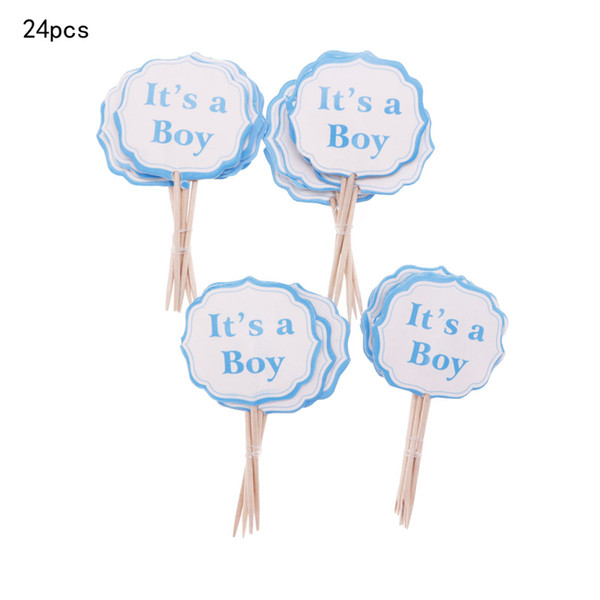 24/12pcs Baby Girls Boys Cake Topper Party Pink Blue cake decorating tools baby shower Birthday Party Decorations For Kids