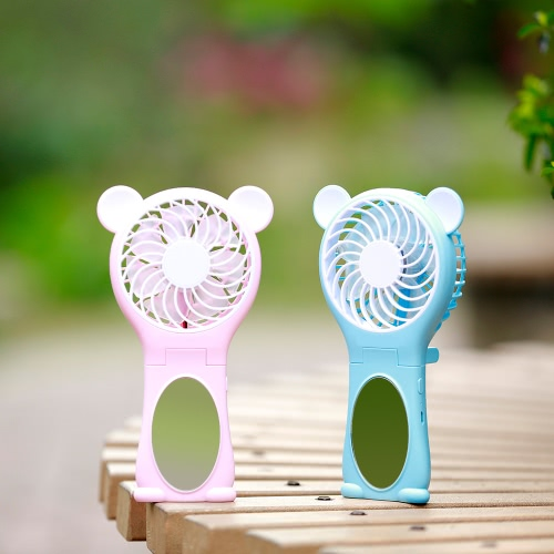 Portable Bear Shape Mirror Cute Mini Handheld Table Foldable Fan 2 Speed for Home Office USB Rechargeable With   Mirror Function