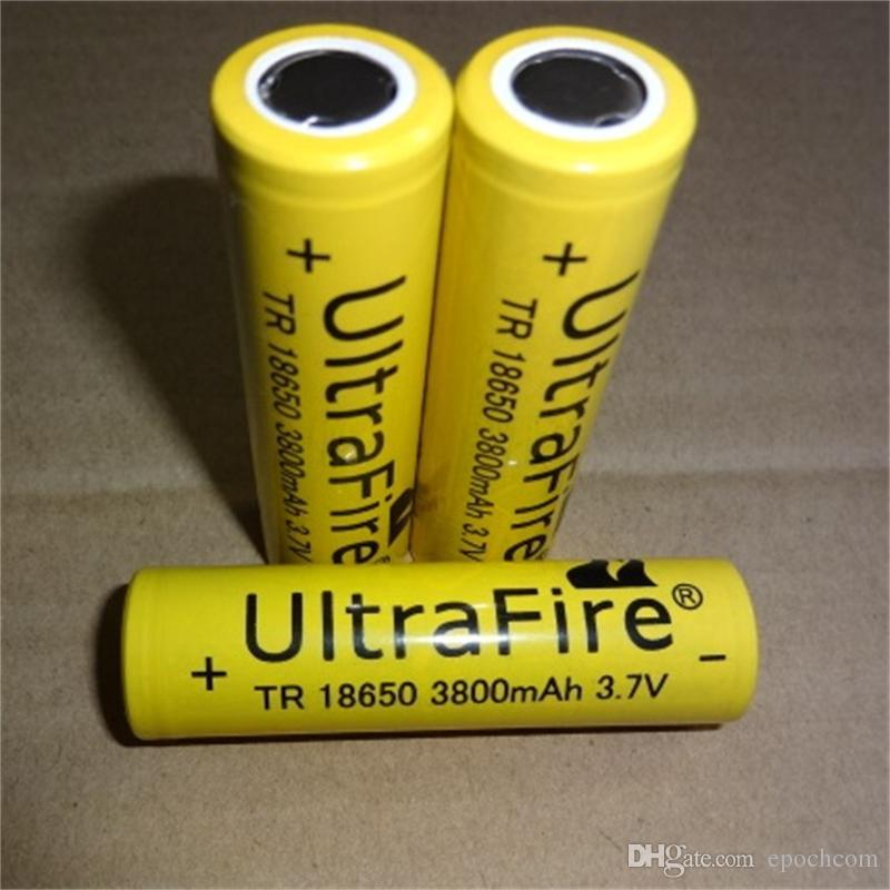 High quality 18650 UltreFire battery, 18650 3800mAh Yellow battery flat lithium battery, can be used in bright flashlight and so on.