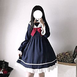Lolita Maid Sweet Lolita Vacation Dress Layered Peter Pan collar A-Line Butterfly sleeve Women's Japanese Cosplay Costumes Blue / Ink Blue Color Block Bowknot Puff Sleeve
