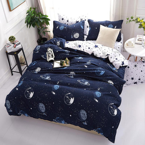 planet star pattern 4pcs girl boy kid bed cover set duvet cover child bed sheet pillowcases comforter bedding set 61017