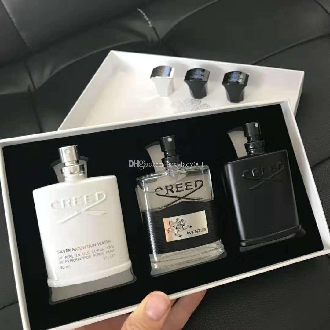 Flash Deals! Creed Fragrance for men Set 30ML*3 Portable Fragrance kits long lasting gentleman perfume sets amazing smell Free Shipping DHL