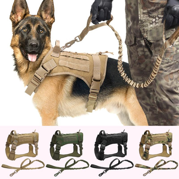 Tactical Dog Harness Nylon Pet Dog Vest Harness Bungee Leash with Handle For Medium Large Dogs German Shepherd