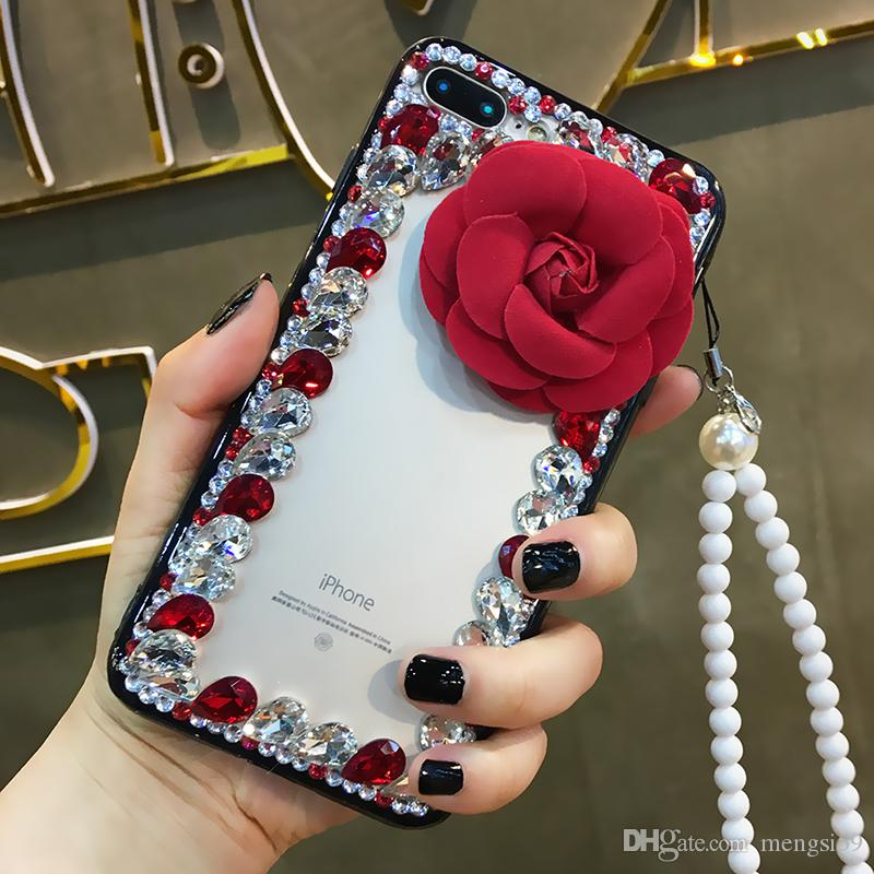 For Samsung galaxy j2 j3 j5 j7 a5 a7 a8 2017 2018 prime plus pro Luxury Girls Rhinestone diamond Rose flower soft phone case