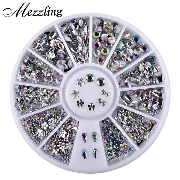 1 box bling ab acrylic nail art rhinestones wheel glier dropwater bow designed diy manicure decorations