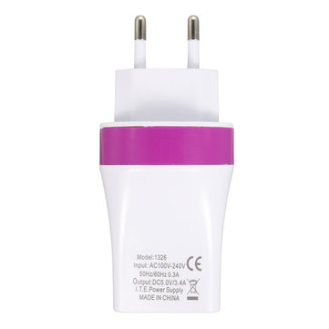 EU Plug 5V/3.4A 3 Port USB Wall Charger Power Fast Charging Adapter Home Travel