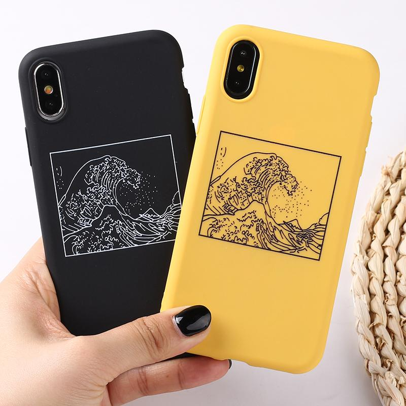 The Great Wave Off Kanagawa Back Cover Soft Phone Case Fundas For Iphone 7plus 7 6plus 6 6s 5s 8 8plus X Xs