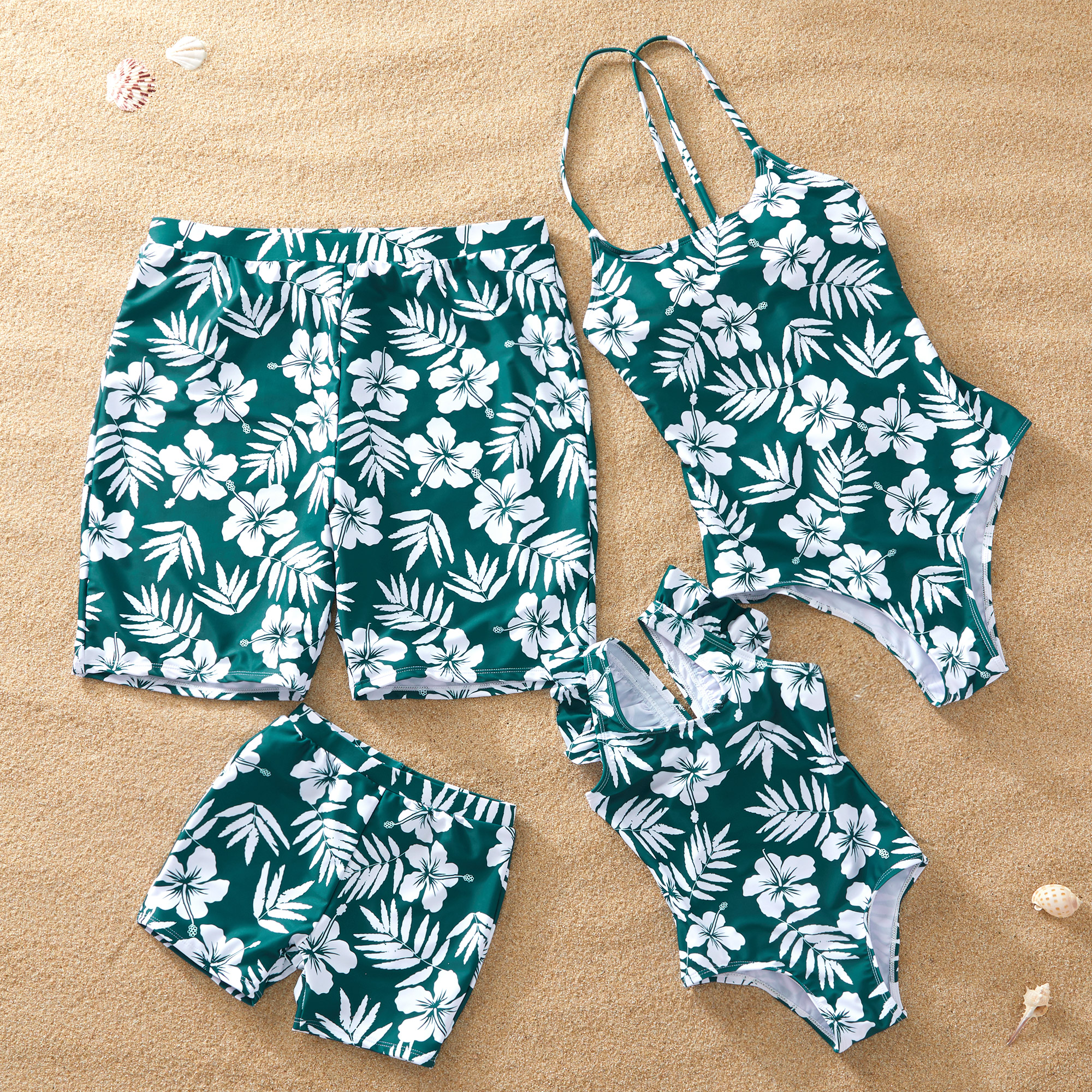 Flower and leaves Matching Swimsuit for Family