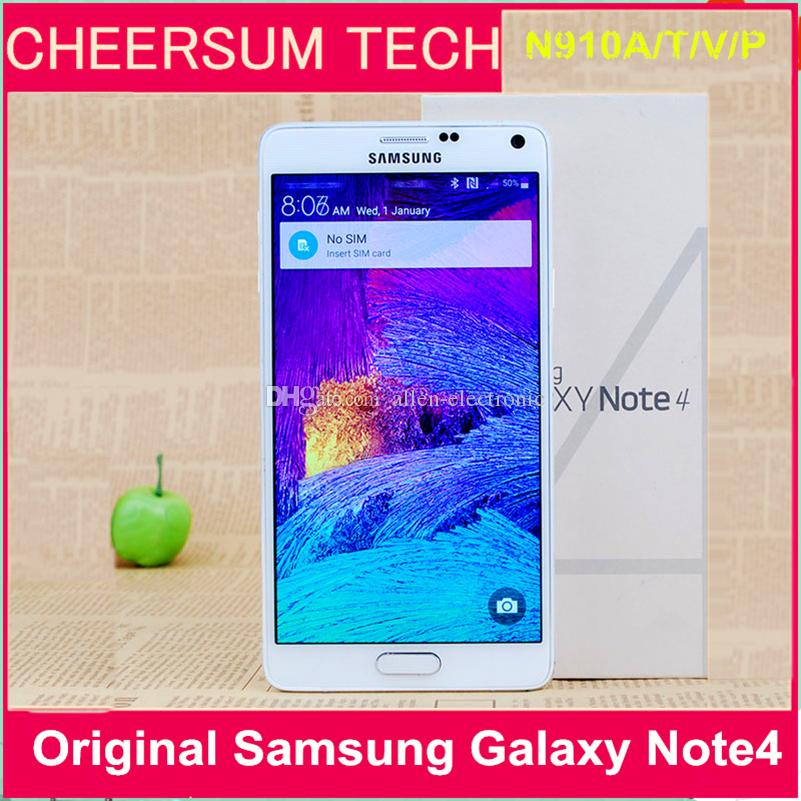 Refurbished Unlocked Samsung Note 4 Cell Phone with 3gb Ram and32gb Rom 3g/4g 5.7''Touch N910A N910T N910V N910P N910F Mobile Phone free DHL
