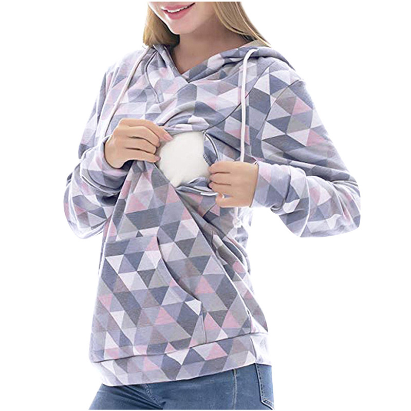 Casual Plaid Long-sleeve Nursing Hoodie