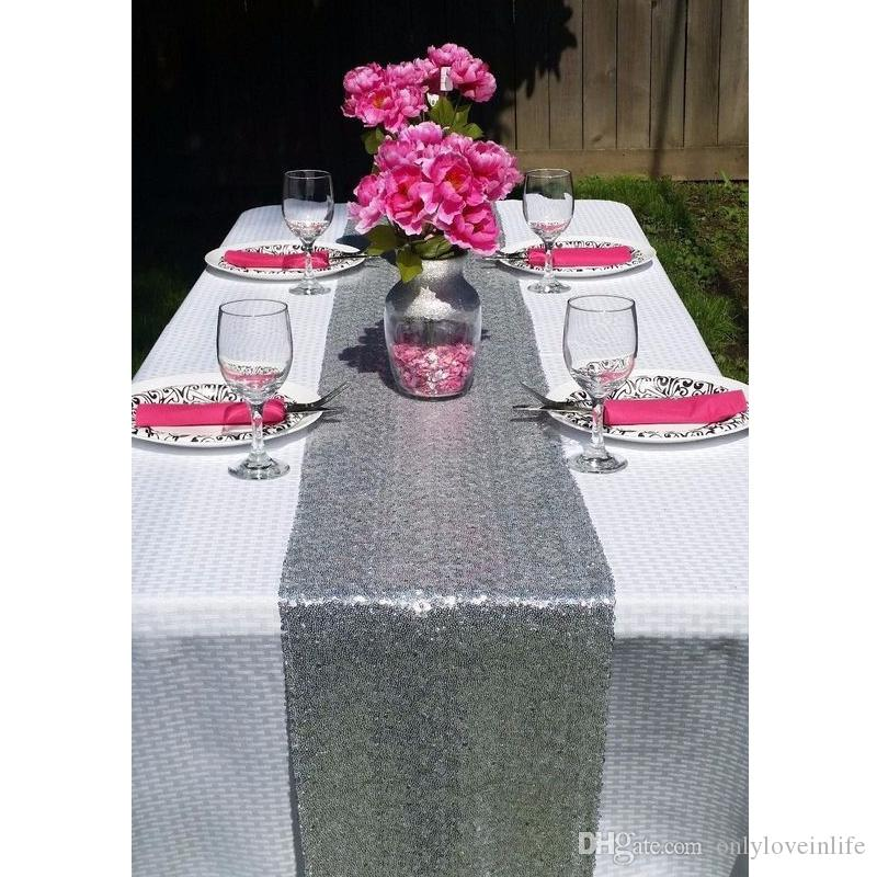 Most Cheap!!! Silver/Gold Sequin Table Runner For Wedding/Event/Party/Banquet/Christmas Wedding Table Decoraiton (30cm by 180cm)