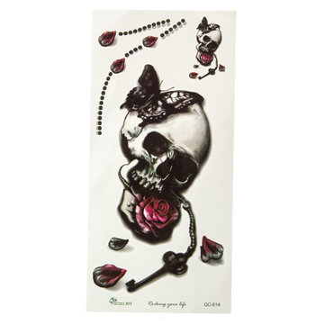 Skull Temporary Tattoo Sticker Removable Waterproof Rose Butterfly Body Art