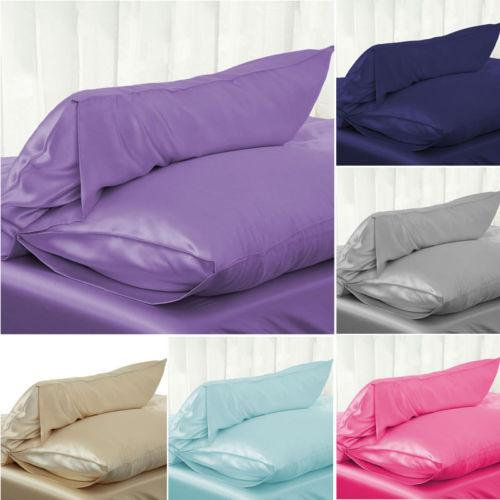 furniture essential solid color standard silk satin pillowcase bedding pillowcase smooth as silk