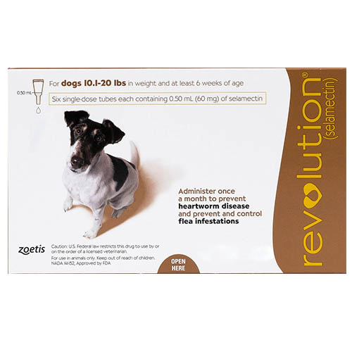 Revolution For Small Dogs 10.1 - 20lbs (Brown) 3 Doses