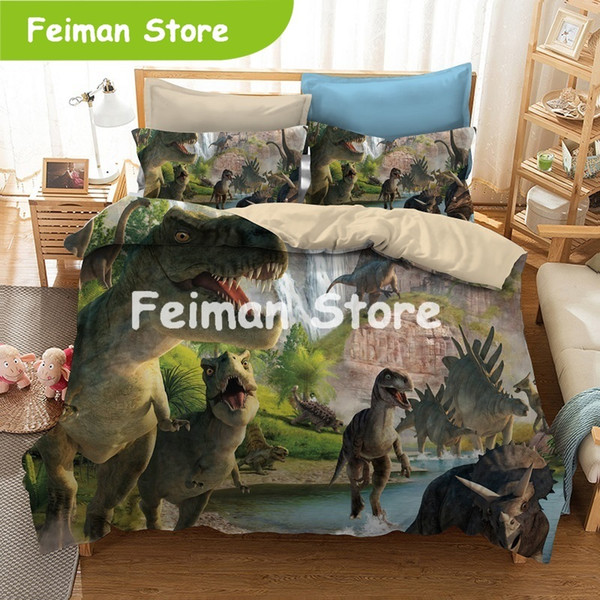 new fashion creative style home textile digital printing dinosaur pattern bedding set europe and america king size 3 pcs bedding