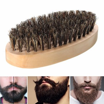 Boar Bristle Thickest Beard Taming Comb Brush Wooden Palm Brush