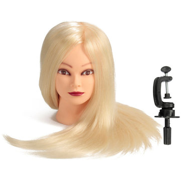 24 Inch 80% Real Human Hair Practice Training Mannequin Head Hairdressing With Clamp