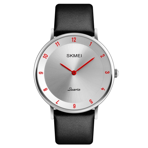 SKMEI Fashion Casual Quartz Watch 3ATM Water-resistant Men Watches Genuine Leather Wristwatch Male Relogio Musculino