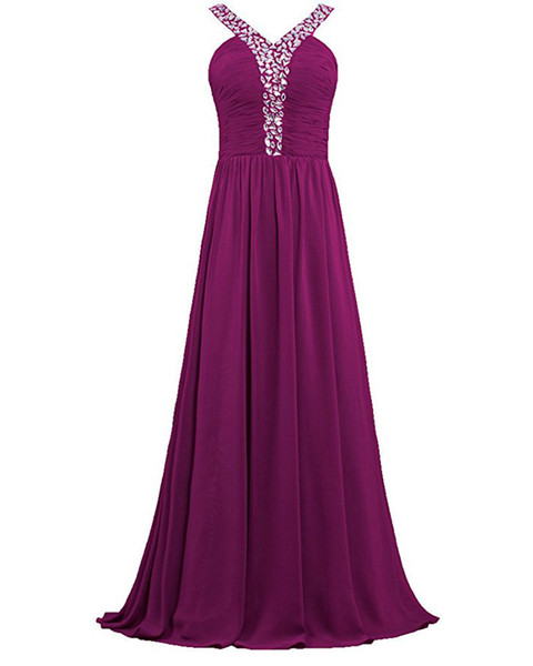 New Cheap Real Photo Long Chiffon Prom Dresses With Beaded Crystal Plus Size Evening Party Gowns Formal Party Gown QC1437