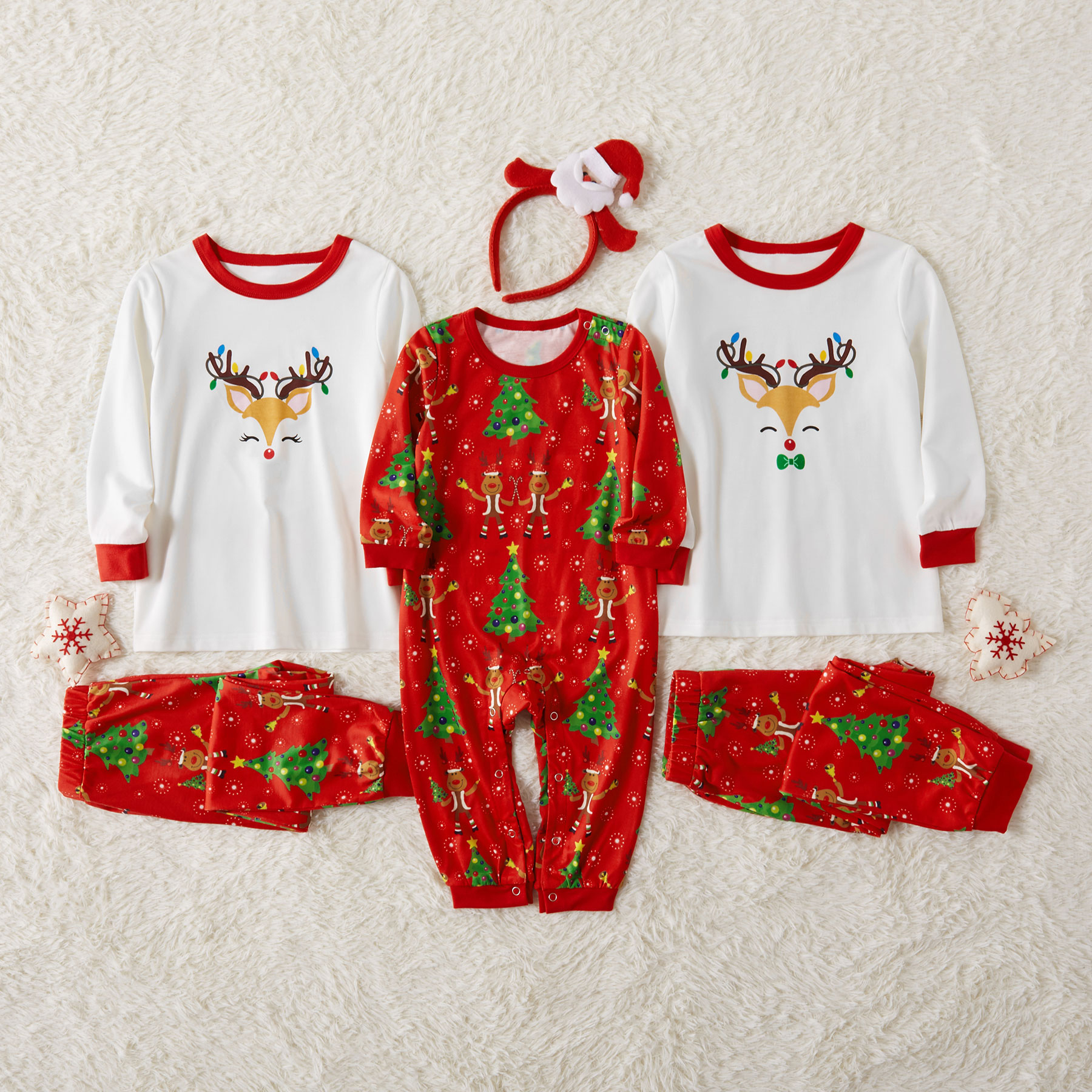 Family Matching Reindeer  Sibling Pajamas Set for Toddlers and Baby