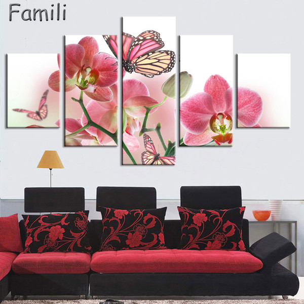 5panel orchid flower art flower canvas painting set paintings modern pictures coloridas decoration for living room wall modular