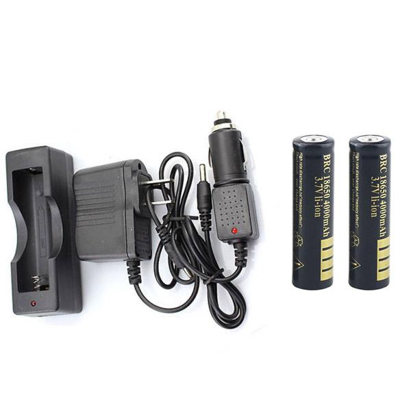2 x 18650 4000 mAh Li-ion Battery & Portable 18650 Charger + Car Charger + AC adaptor for Single 18650 Battery